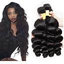 billige Hårfletter-3 pakker Peruviansk hår Bølget Ekte hår Ubehandlet Menneskehår Menneskehår Vevet Forlengere Bundle Hair 8-28 tommers Naturlig Farge Hårvever med menneskehår Silkete Beste kvalitet Silkebasert hår