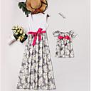 billige Sett med familieklær-Mamma og meg Grunnleggende Daglig Blomstret Ermeløs Asymmetrisk Kjole Hvit