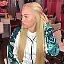 billige Syntetiske parykker med blonde-Syntetisk blonder foran parykker Rett Midtdel Blonde Forside Parykk Blond Lang Blond Syntetisk hår 22-26 tommers Dame Varme resistent Dame Midtskill Blond / limfrie
