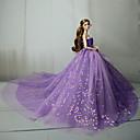 Χαμηλού Κόστους Αξεσουάρ για κούκλες-Φόρεμα κούκλα Πάρτι / Απόγευμα Για Barbie Βυσσινί Μπλε Ροζ Τούλι Δαντέλα Παγιέτες Φόρεμα Για Κορίτσια κούκλα παιχνιδιών
