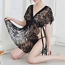 povoljno Ogrtači i odjeća za spavanje-Žene Čipka Super seksi Odijelo Noćno rublje Jednobojni Crn One-Size / Duboki V