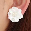 ราคาถูก ตุ้มหู-สำหรับผู้หญิง ต่างหูติดหู 3D Flower สุภาพสตรี Stylish คลาสสิก สง่างาม ไข่มุกเทียม เรซิน ต่างหู เครื่องประดับ ขาว / สีดำ / สีชมพูอ่อน สำหรับ ทุกวัน 1 คู่