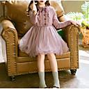 Χαμηλού Κόστους Φορέματα για κορίτσια-Παιδιά Κοριτσίστικα Βασικό Καθημερινά Μονόχρωμο Μακρυμάνικο Φόρεμα Ανθισμένο Ροζ / Βαμβάκι