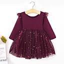 Χαμηλού Κόστους Φορέματα για κορίτσια-Νήπιο Κοριτσίστικα Βασικό Γλυκός Μονόχρωμο Μακρυμάνικο Φόρεμα Κρασί