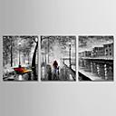 povoljno Slike krajolika-Hang oslikana uljanim bojama Ručno oslikana - Sažetak Moderna Uključi Unutarnji okvir / Tri plohe / Prošireni platno