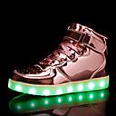 billiga Damskor-Dam Sneakers Låg klack Rundtå Elastisk tyg / Tissage Volant LED / Ledigt Höst vinter Guld / Silver / Rosa