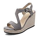 ราคาถูก รองเท้าแตะผู้หญิง-สำหรับผู้หญิง รองเท้าแตะ รองเท้าส้นตึก PU ฤดูร้อน สีดำ / สีชมพู / สีเทา