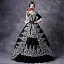 ราคาถูก เสื้อผ้าประวัติศาสตร์และวินเทจ-Maria Antonietta Rococo Victorian Medieval หนึ่งชิ้น ชุดเดรส Masquerade สำหรับผู้หญิง ลูกไม้ เครื่องแต่งกาย สีดำ Vintage คอสเพลย์ ปาร์ตี้ Prom แขนยาว 3/4 บอลกาวน์ ขนาดพิเศษ ที่กำหนดเอง
