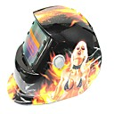 ราคาถูก หมวกกันน็อกจักรยานยนต์-หน้ากากผมสีขาวลายขนนกแสงอาทิตย์อัตโนมัติ