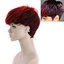 Χαμηλού Κόστους Συνθετικές περούκες χωρίς σκουφί-Συνθετικές Περούκες Yaki Straight Ελεύθερο μέρος Περούκα Κοντό Μαύρο / Κόκκινο Συνθετικά μαλλιά 8INCH Γυναικεία Ρυθμιζόμενο Ανθεκτικό στη Ζέστη συνθετικός Κόκκινο