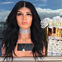 ราคาถูก วิกผมลูกไม้สังเคราะห์ระดับพรีเมียม-วิกผมสังเคราะห์ลูกไม้ด้านหน้า คลื่นหลัก Kardashian สไตล์ กับผมเด็ก มีลูกไม้ด้านหน้า ผมปลอม ดำ ดำสนิืท สังเคราะห์ 24 inch สำหรับผู้หญิง ทนต่อความร้อน ดำ วิก ยาว / ใช่