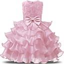 Χαμηλού Κόστους Φορέματα για κορίτσια-Παιδιά Νήπιο Κοριτσίστικα Ενεργό Γλυκός Καθημερινά Αργίες Μονόχρωμο Φλοράλ Φιόγκος Πλισέ Δίχτυ Αμάνικο Μίντι Φόρεμα Βυσσινί