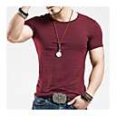 baratos Pulseiras Masculinas-Homens Camiseta - Esportes Activo / Básico Sólido Decote Redondo Delgado Azul Marinho / Manga Curta / Verão