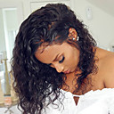 povoljno Perike s ljudskom kosom-Remy kosa Lace Front Perika Rihanna stil Brazilska kosa Kovrčav Crna Perika 150% Gustoća kose s dječjom kosom Nježno Prirodna linija za kosu Glueless Izbijeljeni čvorovi Žene Srednja dužina Perike s