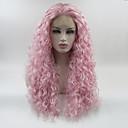 Χαμηλού Κόστους Συνθετικές περούκες με δαντέλα-Συνθετικές μπροστινές περούκες δαντέλας Σγουρά Ελεύθερο μέρος Δαντέλα Μπροστά Περούκα Ροζ Μακρύ Ροζ Συνθετικά μαλλιά 18-26 inch Γυναικεία Ρυθμιζόμενο Δαντέλα Ανθεκτικό στη Ζέστη Ροζ