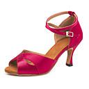 זול הלבשה לריקודים לטיניים-בגדי ריקוד נשים נעלי ריקוד סטן נעליים לטיניות אבזם סנדלים / נעלי ספורט סלים גבוהה עקב פוקסיה / הצגה / עור