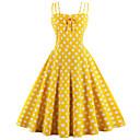Χαμηλού Κόστους Στολές της παλιάς εποχής-Audrey Hepburn Πουά Ρετρό / Βίντατζ Δεκαετία του 1950 Καλοκαίρι Φορέματα Γυναικεία Βαμβάκι Στολές Μαύρο / Λευκό / Κίτρινο Πεπαλαιωμένο Cosplay Καλωσόρισμα Αμάνικο Μέχρι το γόνατο / Φόρεμα / Φόρεμα