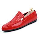 ราคาถูก รองเท้าแตะ & Loafersสำหรับผู้ชาย-สำหรับผู้ชาย รองเท้าสบาย ๆ PU ฤดูใบไม้ร่วง & ฤดูหนาว Sporty รองเท้าส้นเตี้ยทำมาจากหนังและรองเท้าสวมแบบไม่มีเชือก สวมหลักฐาน ขาว / สีดำ / แดง