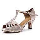 ราคาถูก รองเท้าแบบลาติน-สำหรับผู้หญิง รองเท้าเต้นรำ ซาติน / หนังสิทธิบัตร ลาติน คริสตัล / แสงระยิบระยับ ส้น ส้นCuban ตัดเฉพาะได้ ผ้าขนสัตว์สีธรรมชาติ / Performance / หนังสัตว์ / ฝึก