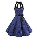 Χαμηλού Κόστους Στολές της παλιάς εποχής-Audrey Hepburn Πουά Ρετρό / Βίντατζ Δεκαετία του 1950 Καλοκαίρι Φορέματα Γυναικεία Στολές Μαύρο / Λευκό / Μπλε Μελάνι Πεπαλαιωμένο Cosplay Καλωσόρισμα Αμάνικο Μέχρι το γόνατο / Φόρεμα / Φόρεμα
