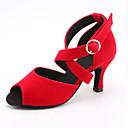 ราคาถูก รองเท้าแต่งงาน-สำหรับผู้หญิง รองเท้าเต้นรำ ซาติน ลาติน หัวเข็มขัด รองเท้าแตะ / รองเท้าผ้าใบ ส้นสูงบาง ตัดเฉพาะได้ สีดำ / สีแดงสว่าง / ฟ้า / Performance / หนังสัตว์
