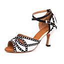 ราคาถูก รองเท้าแบบลาติน-สำหรับผู้หญิง รองเท้าเต้นรำ ซาติน ลาติน คริสตัล / แสงระยิบระยับ รองเท้าแตะ / รองเท้าผ้าใบ ส้นสูงบาง ตัดเฉพาะได้ สีดำ / สีขาว / Performance / หนังสัตว์ / ฝึก