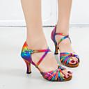 baratos Sapatos de Dança Latina-Mulheres Sapatos de Dança Couro Ecológico Sapatos de Dança Latina Presilha Sandália / Têni Salto Alto Magro Personalizável Arco-íris / Espetáculo
