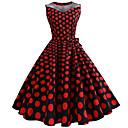 Χαμηλού Κόστους Στολές της παλιάς εποχής-Audrey Hepburn Πουά Ρετρό / Βίντατζ Δεκαετία του 1950 Φορέματα Γυναικεία Τούλι Στολές Φούξια Πεπαλαιωμένο Cosplay Αμάνικο Μέχρι το γόνατο / Φόρεμα / Φόρεμα