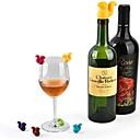 ราคาถูก พื้นรองเท้า-7 ชิ้นกระรอกจุกขวดไวน์ซิลิโคนเครื่องดื่มถ้วยแก้วเครื่องหมายจำแนกลายมือฉลาก