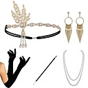 cheap Historical & Vintage Costumes-The Great Gatsby Charleston 1920s The Great Gatsby Roaring 20s Costume Accessory Sets Gloves Flapper Headband Women's Tassel Costume Head Jewelry Earrings Pearl Necklace Black / Golden / Black+Sliver