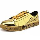 ราคาถูก รองเท้าแตะผู้ชาย-สำหรับผู้ชาย รองเท้าสบาย ๆ หนังสิทธิบัตร ฤดูใบไม้ผลิ & ฤดูใบไม้ร่วง Sporty / คลาสสิก รองเท้าผ้าใบ ไม่ลื่นไถล สีดำ / สีทอง / สีเงิน / การกรีฑา