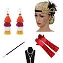 billige Kostymer, smykker og tilbehør-The Great Gatsby Charleston 1920s Den store Gatsby Kostyme tilbehørssett Flapperpannebånd i 1920-stil Dame Dusk Kostume Hodeplagg Perlehalskjede Svart / Gylden / Gylden+Svart Vintage Cosplay