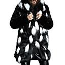 cheap Wedding Wraps-Men's Daily Plus Size Regular Fur Coat, Color Block Hooded Long Sleeve Faux Fur White / Black