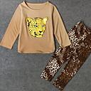 Χαμηλού Κόστους Σετ ρούχων για κορίτσια-Νήπιο Κοριτσίστικα Βασικό Μονόχρωμο Μακρυμάνικο Σετ Ρούχων Μαύρο