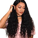 cheap Human Hair Wigs-Remy Human Hair Human Hair Lace Front Wig Deep Parting style Peruvian Hair Loose Wave Natural Black Wig 250% Density with Baby Hair Natural Hairline African American Wig For Black Women With Bleached