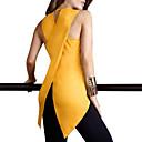 Χαμηλού Κόστους Περούκες από Ανθρώπινη Τρίχα-Γυναικεία Μεγάλα Μεγέθη Αμάνικη Μπλούζα Εξόδου / Δουλειά Κομψό στυλ street / Πανκ & Γκόθικ Μονόχρωμο Μαύρο