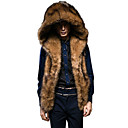 cheap Wedding Wraps-Men's Daily Winter Regular Fur Coat, Solid Colored Hoodie Sleeveless Faux Fur Brown