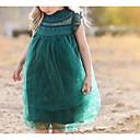 Χαμηλού Κόστους Φορέματα για κορίτσια-Νήπιο Κοριτσίστικα Ενεργό Καθημερινά Μονόχρωμο Δαντέλα Αμάνικο Ως το Γόνατο Φόρεμα Πράσινο του τριφυλλιού