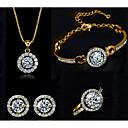 povoljno Komplet nakita-Žene Vedro Kubični Zirconia Gipke i čvrste narukvice Ogrlice s privjeskom Naušnica Teniski lanac blažen Jedinstven dizajn Imitacija dijamanta Naušnice Jewelry Zlato / Pink Za Party Dnevno 1set