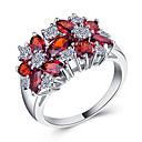 billige Graverte Ringer-Dame Ring Kubisk Zirkonium 1pc Rød Grønn Blå Kobber Sirkelformet Europeisk trendy Romantikk Bryllup Stevnemøte Smykker Klassisk Søtt