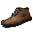 billige Oxfordsko til herrer-Herre Cowboy / Western Boots PU Høst vinter Fritid Oxfords Svart / Gul / Kakifarget