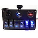 זול מפסקים לרכב-6 ב 1 הוביל רוקר לוח מתג, אור כחול כפול עם מטען USB שקע חשמל, voltmeter, כיסוי אבק