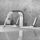 billiga Tvättställsblandare-Badrum Tvättställ Kran - Vattenfall / Utbredd / Ny Design Krom Hål med bredare avstånd Två handtag tre hålBath Taps