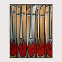 billige Abstrakte malerier-Hang malte oljemaleri Håndmalte - Abstrakt Mennesker Klassisk Moderne Uten Indre Ramme / Valset lerret