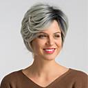 Χαμηλού Κόστους Συνθετικές περούκες χωρίς σκουφί-Συνθετικές Περούκες Φυσικό ευθεία Kardashian Στυλ Κούρεμα καρέ Χωρίς κάλυμμα Περούκα Μαύρο Μαύρο / Γκρι Συνθετικά μαλλιά 10 inch Γυναικεία Μοδάτο Σχέδιο / Νέα άφιξη / Μαλλιά με ανταύγειες Μαύρο / Γκρι