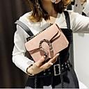 ราคาถูก กระเป๋าสะพายข้าง-สำหรับผู้หญิง ซิป PU กระเป๋าสะพาย สีดำ / สีน้ำตาล / สีแดงชมพู