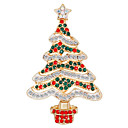 cheap Religious Jewelry-Women's Cubic Zirconia Brooches Classic Christmas Tree Ladies Fashion Brooch Jewelry Green / Red For Christmas Daily