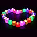 זול קישוט אורות-24 יחידות led תה אור נר אור סוללה מופעל סימולציה להבת צבע מהבהב הביתה מסיבת יום הולדת חתונה נרות קישוט