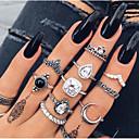 billige Motering-Dame Ring Set Midiringe Stable Ringer Krystall 11 deler Sølv Legering Geometrisk Form damer Vintage Bohemsk Gave Aftenselskap Smykker Klassisk Dråpe Krone Kul Smuk