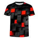 billiga Zentai-Tryck, 3D Plusstorlekar Bomull T-shirt - Grundläggande / drivna Herr Rund hals Svart / Kortärmad